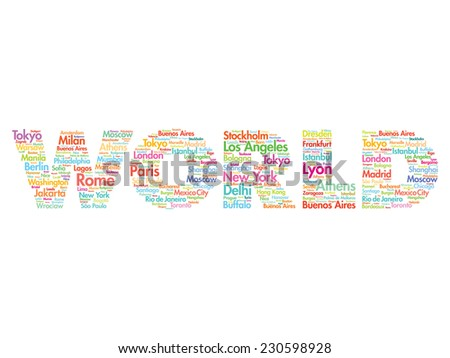 World travel concept made with words cities names, vector collage - stock vector