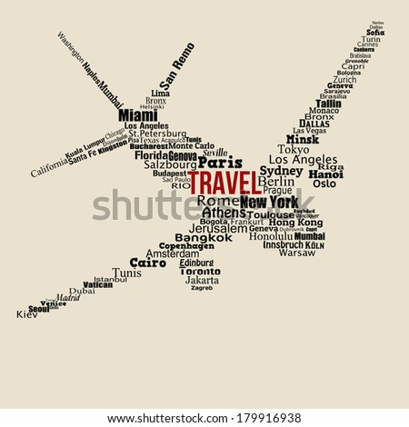 World travel concept made with words drawing a airplane on vintage background, vector illustration - stock vector