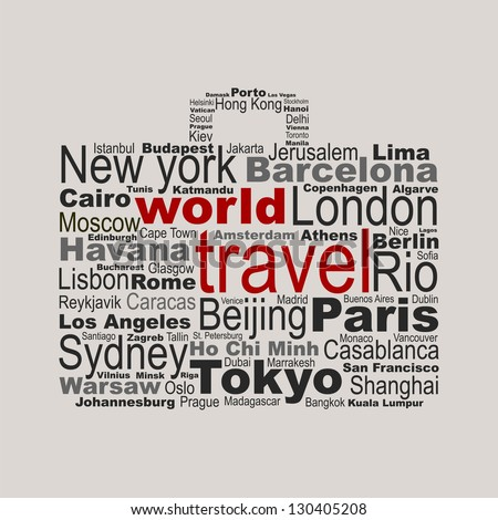 World travel concept made with words drawing a suitcase - easy colors change by selecting same fill color - stock vector