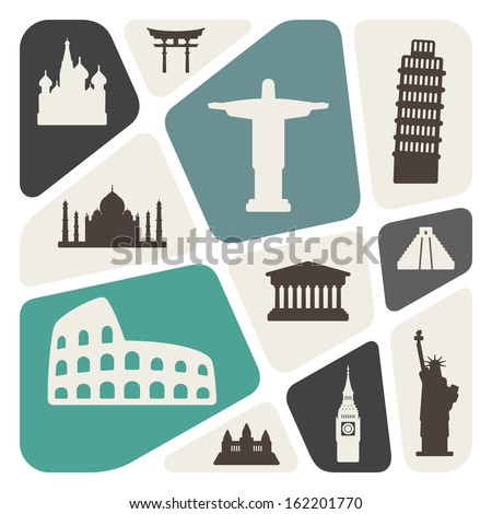 World travel destinations  - stock vector