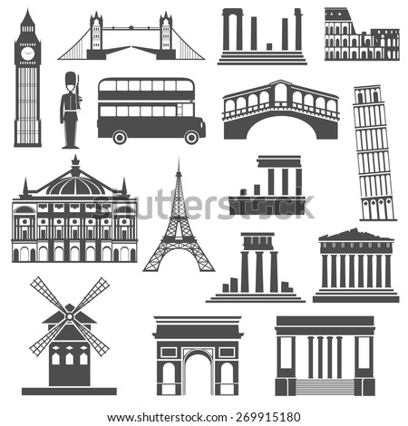 World travel famous places and monuments black icons set with arc de triumph abstract isolated  vector illustration - stock vector