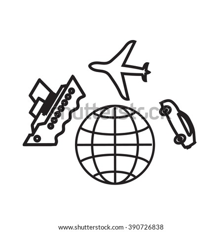 World travel icon. Auto travel concept. Travelling by ferry tour. Auto travel worldwide. Air travel vector illustration. World Travel icon, a group of objects. - stock vector