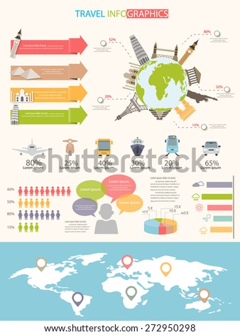 world travel infographics elements. items are included world famous landmark and map, can be used for workflow layout, diagram, step up options, statistic elements, web design. Vector illustration. - stock vector