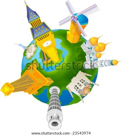 World Travel isolated on white background - cultural heritage collection with historic famous landmark of America and Asia or Europe : vector illustration