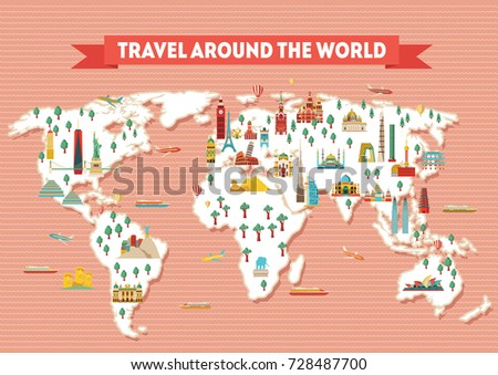 World travel map poster travel tourism vector de stock728487700 world travel map poster travel and tourism background vector illustration gumiabroncs Image collections