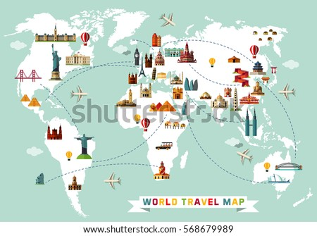 world travel map vector illustration