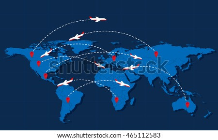 World travel map airplanes markers vector stock vector 465112583 world travel map with airplanes and markers vector illustration modern flat design gumiabroncs Image collections