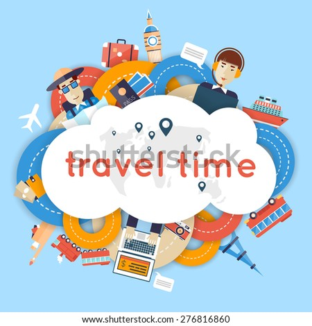 World Travel. Planning summer vacations. A man travels the world by train, plane, ship or bus. Roads. Summer holiday. Tourism and vacation theme. Flat design vector illustration. Material design. - stock vector
