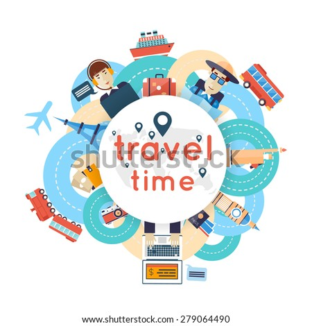 World Travel. Planning summer vacations. A man travels the world by train, plane, ship or bus. Roads. Summer holiday. Tourism and vacation theme. Flat design vector illustration.  - stock vector