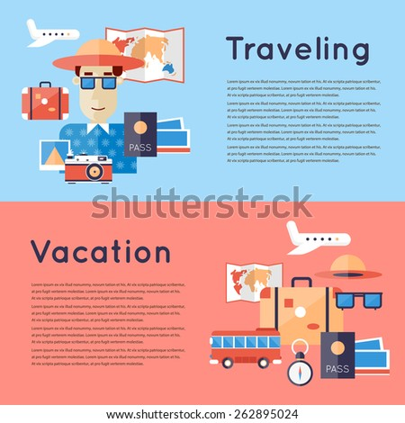 World Travel. Planning summer vacations. Man travailing. 2 travel banners with place for text. Flat design vector illustration. - stock vector