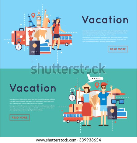 World Travel. Planning summer vacations. Tourism and vacation theme. Flat design vector illustration. - stock vector