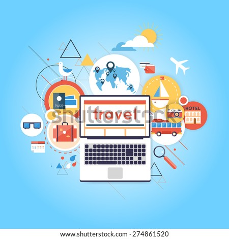 World Travel. Search for tour to the Internet using a laptop. Planning summer vacations. Summer holiday. Tourism and vacation theme. Flat design vector illustration. Material design. - stock vector