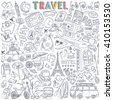 World Travel Set. Hand drawn simple vector sketches collection. Popular symbols of tourism and traveling - transportation, landmarks, luggage, accommodation, souvenirs, destinations, sightseeing. - stock vector