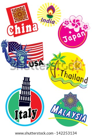 World travel sticker symbols set - Variety country - stock vector
