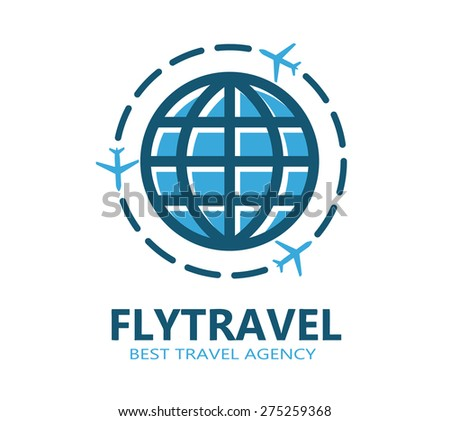 World travel symbol airplane - stock vector
