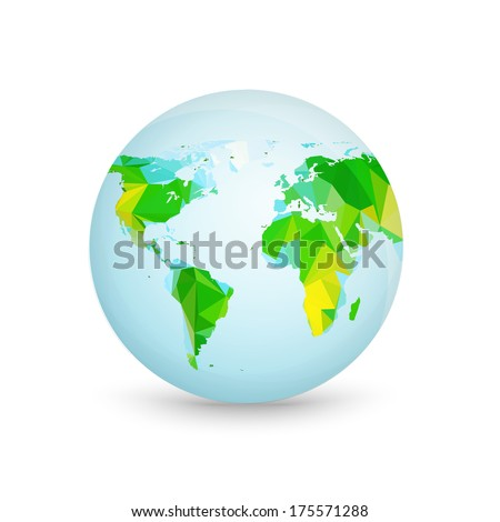 World Triangle Map and Globe Detail Vector Illustration