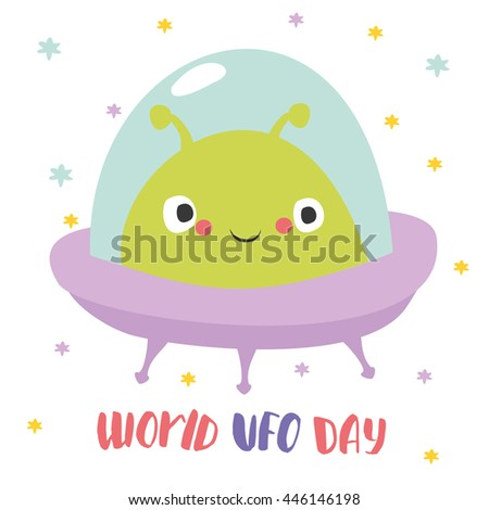 World UFO Day. cute alien in space plate - stock vector