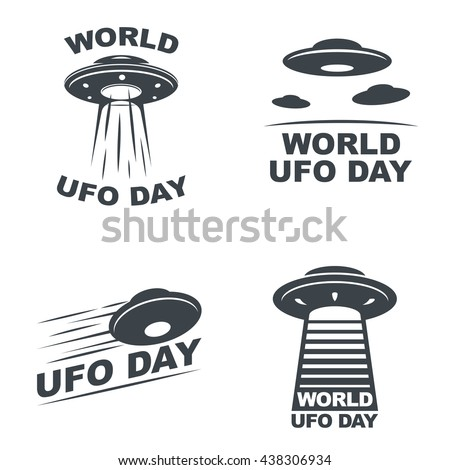 World UFO Day. Set of four emblems on white background. Vector EPS10. - stock vector