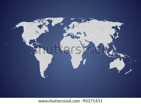 World vector map (gray on blue background) - stock vector