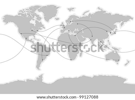 World vector map. Main cities are marked and connected with lines - stock vector