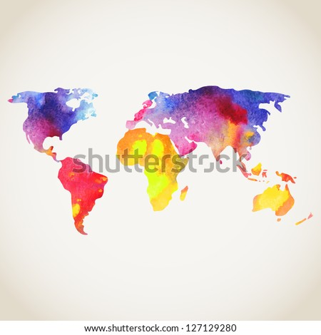 World vector map painted with watercolors, painted world map on white background. - stock vector