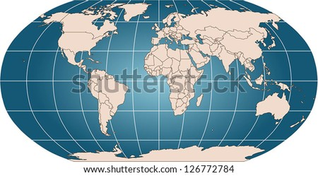 World vector map with countries and graticule in Robinson projection for 110m scale. Borders are up to date (2013) including South Sudan. All countries as selectable paths with ISO A3 country name - stock vector