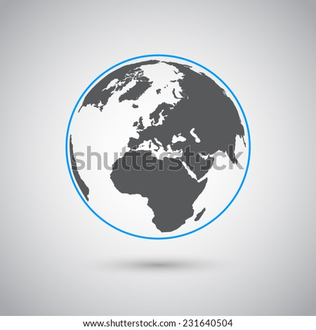 World vector symbol, flat design  - stock vector