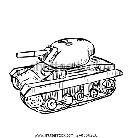 World War 2 American light tank M22 Locust. Hand drawn illustration. Isolated on white. - stock vector