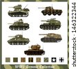 World War 2 German and American armor with camouflage - stock photo