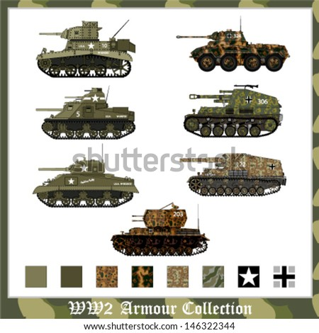 World War 2 German and American armor with camouflage