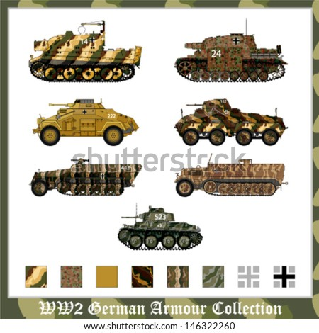 World War 2 German armor with camouflage - stock vector