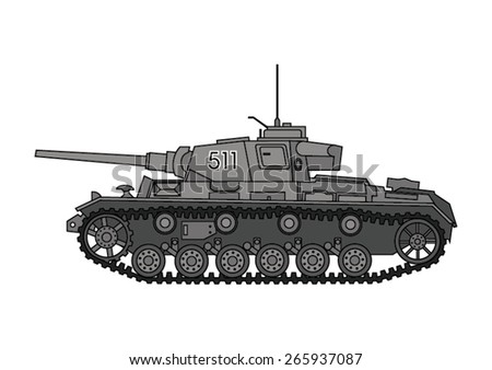 World War Two tank. German tank, side view. Vector scalable illustration.