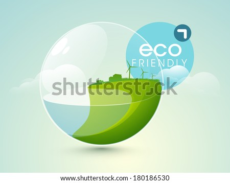 World water day concept with nature in sphere and blue tag.   - stock vector