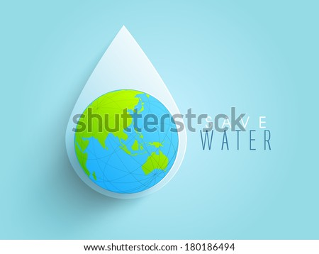 World water day concept with water drop made by globe on blue background, can be use as sticker, tag or label design.   - stock vector