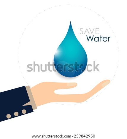 World water day concept with woman hands hold water drop. Vector illustration.  - stock vector
