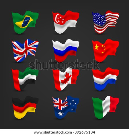 World waving flag sets