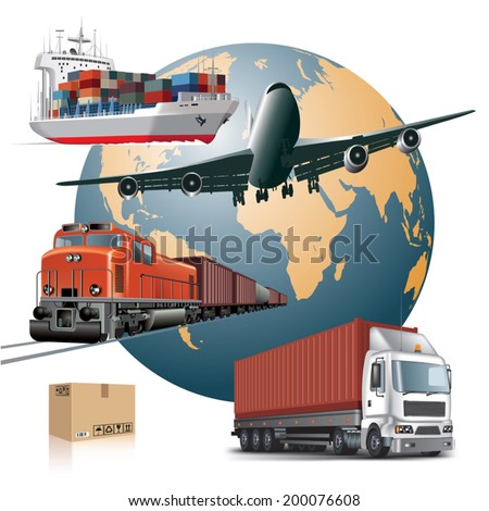 World wide cargo transport concept. Vector illustration - stock vector
