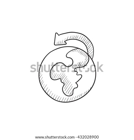World wide cargo transportation vector sketch icon isolated on background. Hand drawn World wide cargo transportation icon. World wide cargo transportation sketch icon for infographic, website or app. - stock vector