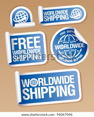 World-wide shipping stickers set.
