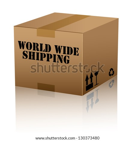 world wide shipping text over cardboard box isolated. vector illustration - stock vector