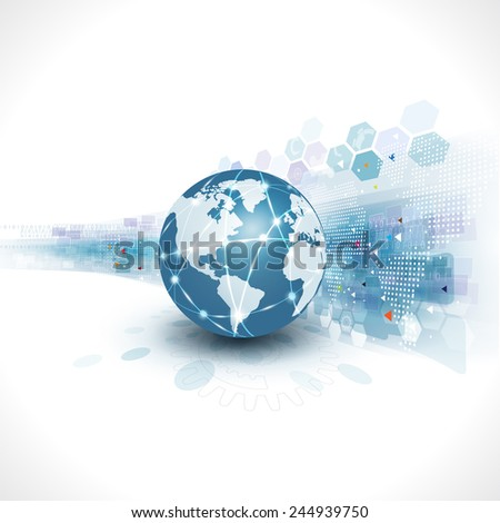 World with abstract futuristic graphic template for corporate tech and business concept, vector illustration - stock vector