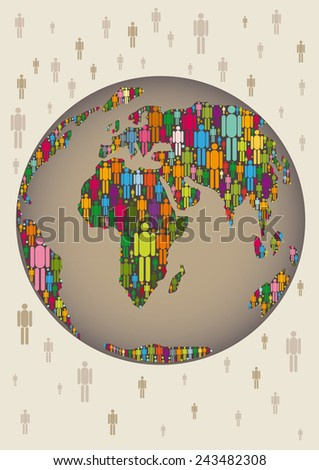 world with colorful people in the continents - stock vector