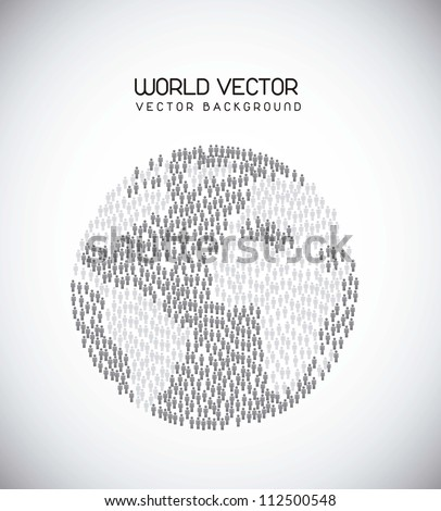 world with man sign over gray background. vector illustration - stock vector