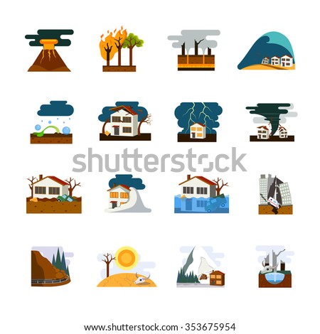 World worst natural disasters symbols flat pictograms collection with earthquake tsunami and avalanche danger isolated vector illustration - stock vector