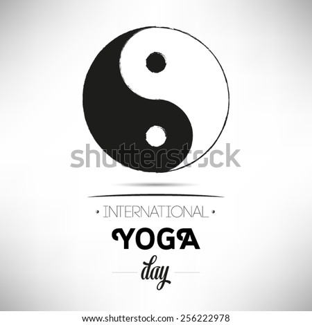 World Yoga Day vector illustration, white background - stock vector