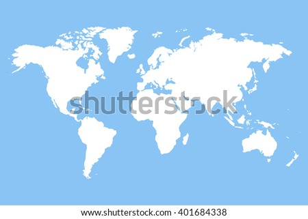 Worldmap vector template. World map for infographic. White blank world map.  Silhouette world map. Stock vector world map. - stock vector
