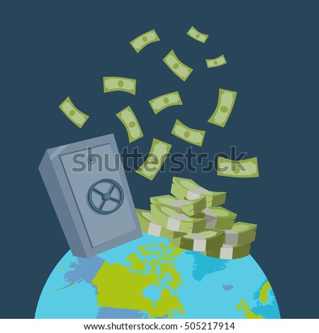 Worlds largest wealth concept vector. Pile of banknotes and safe on top of the planet in flat style design. Safety international money transfers. Illustration for credit, savings, payment services.