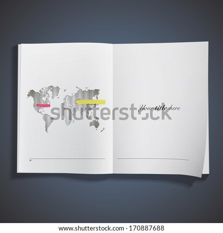 Worlds map printed over book. Vector design. - stock vector