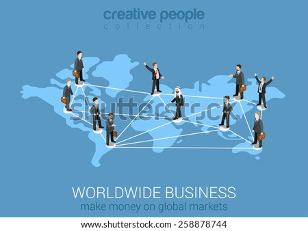 Worldwide business network flat 3d isometric modern design concept vector. Businessman pedestals connected on world map from continents. Web banners illustration website click infographics. - stock vector