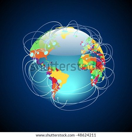 Worldwide connections concept. Globe with detailed multicolored countries, data threads over the planet. Vector illustration. - stock vector
